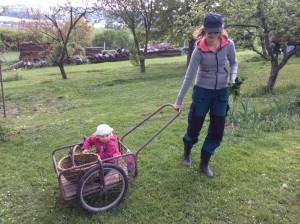 Dcera miluje jízdu ve vozíku, jak ho někde nechám stát, už nastupuje. Foto: Sláma v botách
