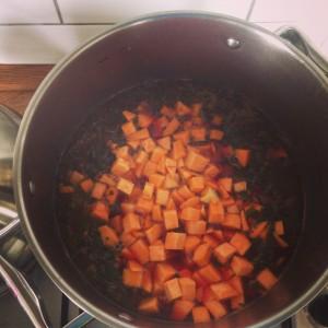 Začínáme jako s každou polévkou, osmahnout cibulku, přidat zeleninu, zalít horkým vývarem... Foto: Sláma v botách