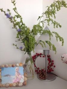 Rámeček z mušlí z dovolené, věneček ze šípků (tak dobře, ty jsou umělý) a váza s biochroštím z výletu. Už začínám mít vyhraněný dekoratérský rukopis. Foto: Sláma v botách