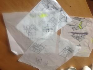 První skicy, první nápady... Vzniklo pak ještě asi padesát dalších návrhů. Foto: Sláma v botách